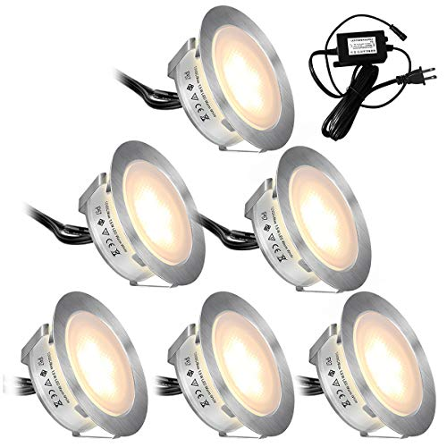 Recessed LED Deck Lights Kits 6 Pack,SMY(Upgrade Version)In Ground Outdoor LED Deck Lighting Waterproof IP67,Low Voltage LED Lights for Garden,Yard Steps,Stair,Patio,Pool Deck,Kitchen Decoration