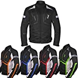 Motorcycle Jacket For Men Textile Motorbike Dualsport Enduro Motocross Racing Biker Riding CE Armored Waterproof All-Weather (Black, Large)