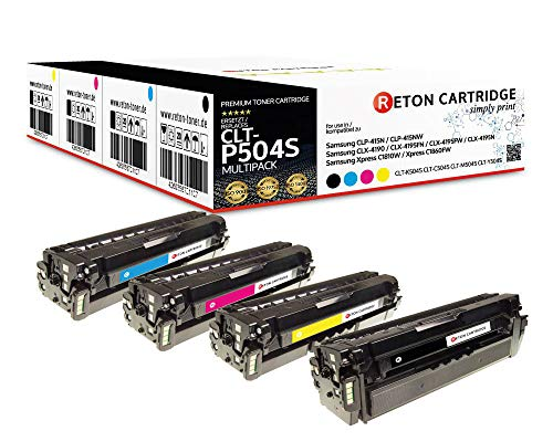 4 Original Reton Toner mit 35% mehr Leistung kompatibel zu CLT-P504C für Samsung CLP-415N CLP-415NW CLX-4190 CLX-4195FN CLX-4195FW CLX-4195N Xpress C1810W C1860FW
