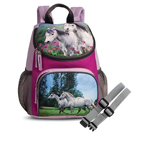 Set Kinder Rucksack mit Netztaschen und Brustgurt GURTIES (Pferd)