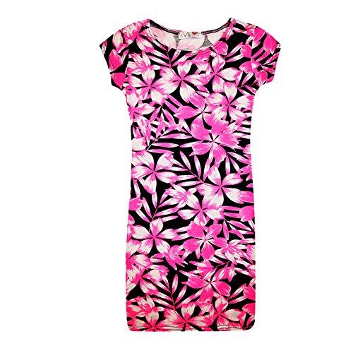 A2Z 4 Kids® Kids Meisjes Neon Roze Bloemen Print Midi Jurk Crop Top Legging Playsuit Nieuwe Leeftijd 7 8 9 10 11 12 13 Jaar