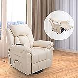 HOMCOM Elektrischer Fernsehsessel Aufstehsessel Relaxsessel Sessel mit Aufstehhilfe (creme) - 2