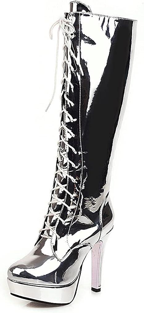 heelchic Women Fashion Lace Up Zipper Platform Knee High Boots Party Dance Mid Calf Chunky High Heel Go Go Boots