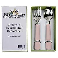 Golden Rabbit Child Fork & Spoon Set, Pink by Golden Rabbit