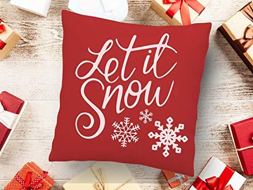 Kissen Weihnachten mit Print Let it Snow