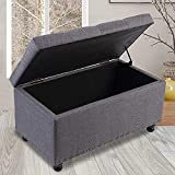 GOOD & GRACIOUS Storage Ottoman Bench 31.9 Inches Tufted End of Bed Storage Bench Footrest Foot Stool for Living Room or Bedroom Grey