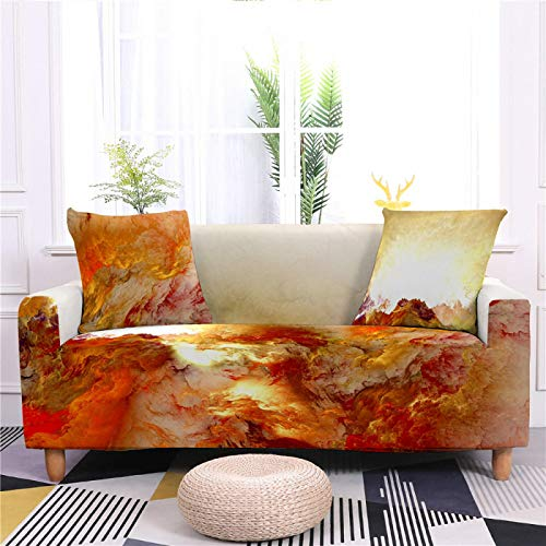 Funda de sofá universal de elastano, elástica, color marrón, diseño abstracto de representación ajustada, para sillón, sofá de 1/2/3/4 plazas, 4, plazas 235, 300 cm
