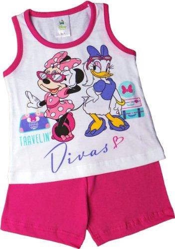 Disney Minnie Maus und Dais Duck Zweiteiler/Schlafanzug/Shirt und Shorty - Traveling Divas! - Pink/Weiß