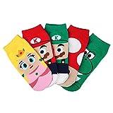 Alizeal Dibujo Animado-Calcetines para Niña(Pack 5) Mario