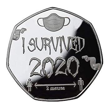 Commemorative Coin,Gold & Silver Coin,I Survived 2020 Good Luck Coin Souvenir Commemorative Coin,Gift for Survived  1PC Silver -style1