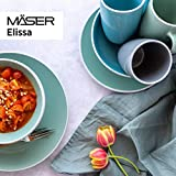 MÄSER 931770 Serie Elissa Modernes Geschirr Set für 6 Personen in Türkis mit weißem Rand, 24-teiliges Kombiservice, Steinzeug - 8