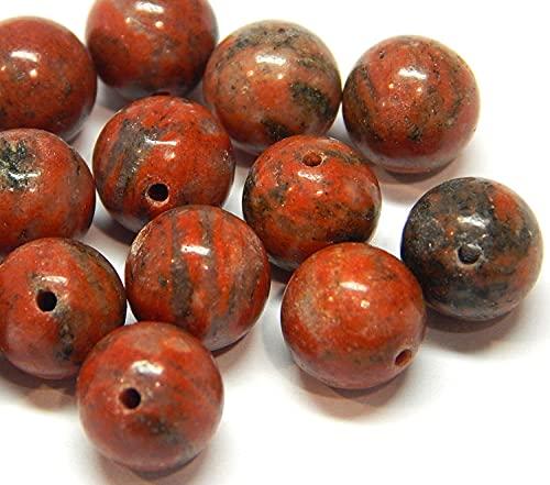 Perlas de piedras preciosas de jaspe de Sesam, rojas, 8 mm, 6 mm, 4 mm, redondas, piedras semipreciosas, para fabricación de joyas, accesorios para manualidades, diseño de joyas (8 mm – 15 unidades)