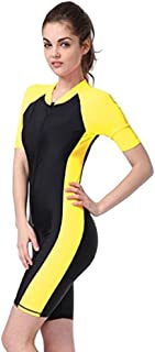 Surfing Swimsuits for Women Men One Piece Short Sleeve Sun Protection Rash Guard Suit Yellow