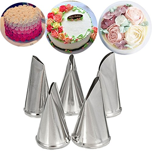 Changlesu Spritztüllen-Set mit Rosenblütenblättern, Edelstahl, für Kuchen, Creme, Dekoration, Backwaren, Cupcake, Gebäck