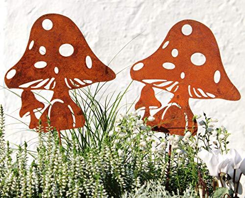 LB H&F 2er Set Herbstdeko Lilienburg Roststecker Pilze Gartenstecker Rost Metall (Pilz Set)