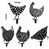 Giragaer 5PCS 13inch Metal Chicken Yard Art, Hollow Out Rooster Animals Silhouette Statue Decor, Lifelike Ornaments Hen Yard Decorative, Pathway, Floor Decoration, Garden, Lawn, Outdoor Decoration