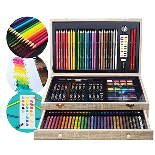 Art 101 Doodle and Color 142 Piece Art Set in a Wood Carrying Case, Grey Wash