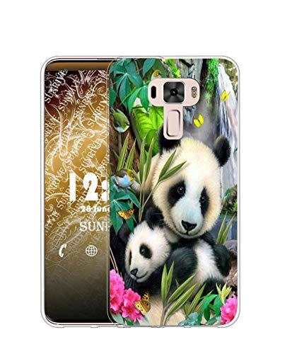 Sunrive Kompatibel mit Asus Zenfone 3 ZE520KL Hülle Silikon, Transparent Handyhülle Schutzhülle Etui Hülle (TPU Panda 5)+Gratis Universal Eingabestift MEHRWEG