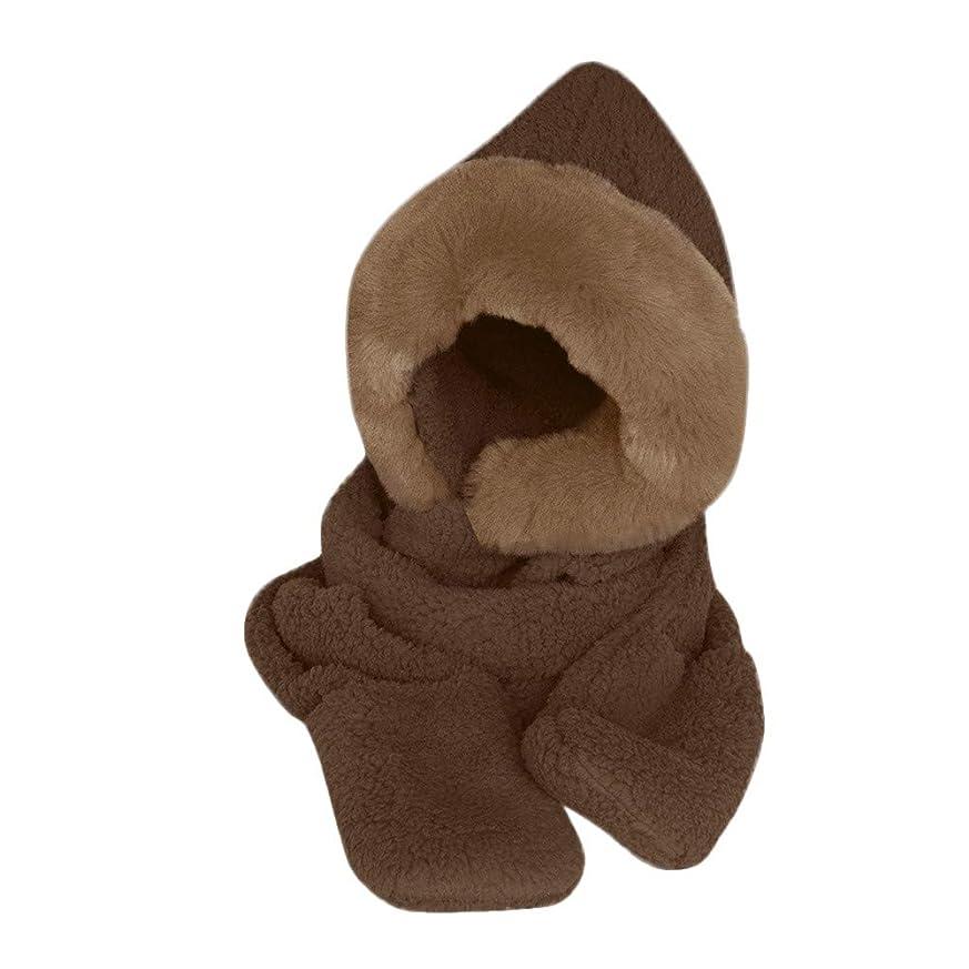 内側最少レビュアーEnjoCho 冬用 暖かい レディース フード付き手袋 ポケットイヤーフラップハット ロングスカーフ ショール スヌードラップ レディース 冬用手袋 帽子スカーフ one size