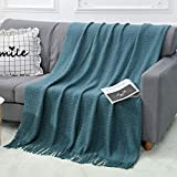 """WGCC Knit Throw Blanket for Couch, 50×60"""" 100% Acrylic Super Soft Bed Throw Blanket with Tassels, 1.4lb Warm Cozy Fluffy Knitted Woven Blanket for Couch Bed Sofa Home Travel - All Seasons (Aqua)"""