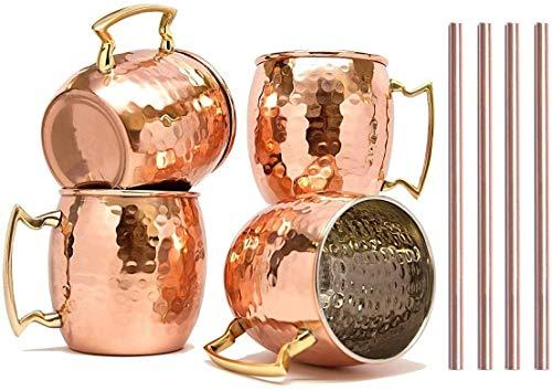 RATNA Moscow Mule - Juego de 4 tazas de cobre hechas a mano con pajita de acero inoxidable puro sólido con acabado martillado