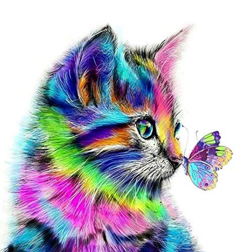 Peinture de diamant, Broderie de peinture, point de croix, A faire soi-même , 5D Résine Décoration de la maison, du salon, chambre à coucher - Chat et papillon multicolore mignons A multicolore