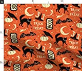 vintage halloween fabric - Spoonflower Fabric - Vintage Halloween Treat Black Cat Pumpkin Bat Spooky Style Cats Printed on Petal Signature Cotton Fabric by The Yard - Sewing Quilting Apparel Crafts Decor