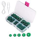 Novborcz Faceted Crystal Glass Beads - Suitable for DIY, Making Bracelets, Necklaces and Other Jewelry (Malachite Green)