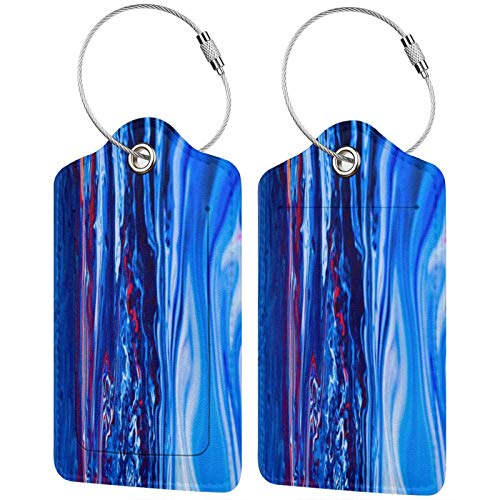 FULIYA Set of 2 Secure Luggage Tags High-end Leather Suitcase Luggage Tags Business Card Holder/Travel ID Bag Tag,Paint, Liquid, Fluid Art, Stains, Blue, Art
