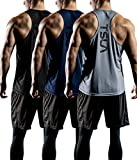 TSLA Men's 3 Pack Workout Muscle Tank Sleeveless Racer Y-Back Gym Training Cool Dry Top MTN33, Black/Grey/Navy, Large