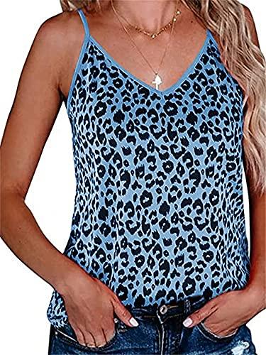 Camisola Mujer Sexy Estampado De Leopardo Top Sin Mangas Verano Playa Vacaciones Ocio Cómodo Tejido Elástico Transpirable Elegante Mujer Top Mujer Blusa D-Blue L