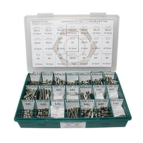 Sortiment M5 + M6 ISO 7380-1 Edelstahl A2 (V2A) Flachrundkopfschrauben Innensechsrund (Torx) - Set bestehend aus Schrauben, Unterlegscheiben (DIN 125, 127, 9021) und Muttern (DIN 934, 985) - 670 Teile