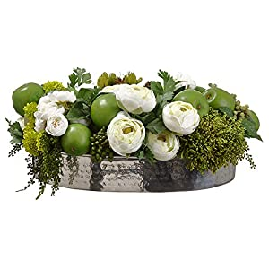 8″ Hx20 W Artificial Ranunculus Flower, Apple & Sedum Arrangement w/Plate Planter -Green/Cream