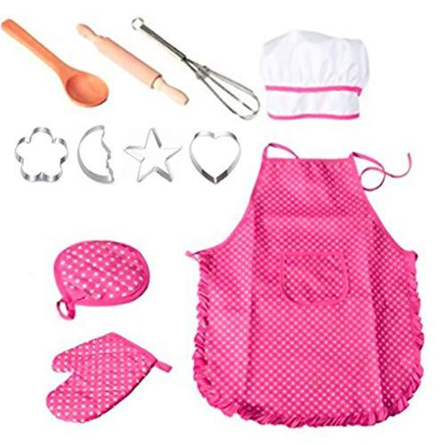 WBTY - Juego de 11 piezas para niños de cocinero, juego de cocina, delantal de cocina, guante de horno