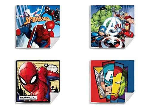 Palleon Juego de 4 toallas mágicas de algodón de los Vengadores y Spiderman.