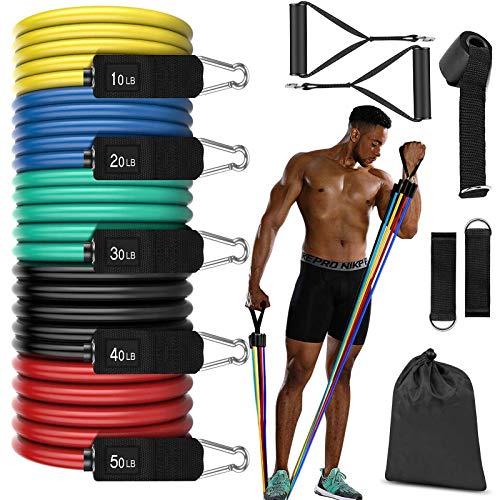 Kit de banda de resistencia para equiparación de fitness para hombres de hasta 150 libras - Equipamiento de fitness, puños de espuma, bandas de resistencia y equiparación de fitness en casa.