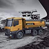 BLACKOBE RC Dump Truck, Remote Control Alloy Engineering Vehicle 1573 1/14 2.4G 10CH Mine Construction Heavy Duty Vehicle Toy Machine Model with LED Light & Sound, Gift for Kids 18x7.6x5.6in