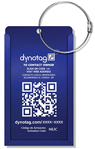 Dynotag® Internet-/GPS-aktivierter Gepäckanhänger, QR-Code, Aluminium, verstellbar, mit Stahlschlaufe