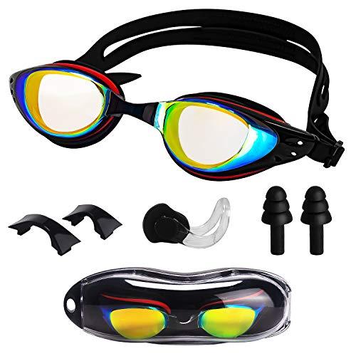 Schwimmbrillen für Erwachsene - leckagefrei Anti-Fog-UV-Schutz-Schwimmbrille, Gepolsterte Silikon-Spiegelbrille schützt Ihre Augen perfekt