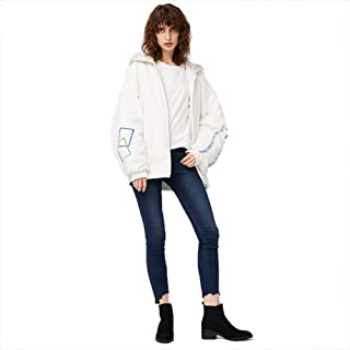 Women's Winter Down Jacket, Warm Padded Embroidery Fashion Design Hooded Jacket Top,White,M