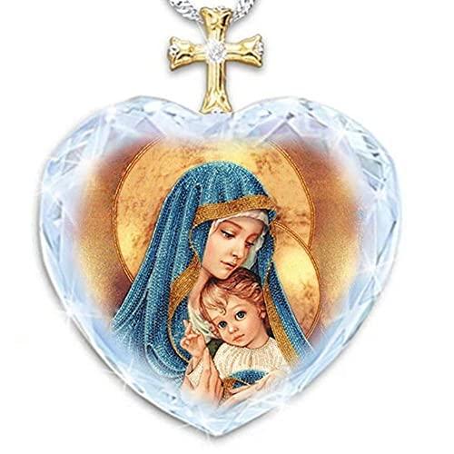 MUGBGGYUE Collar con colgante de Jesús, personaliza el colgante de ángel con corazón de Jesús, medallón religioso de Jesús con colgante de foto
