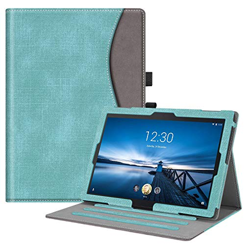 FINTIE Case for Lenovo Tab E10 TB-X104F / Tab4 10 / Tab4 10 Plus Tablet, Multi-Angle Viewing Stand Cover with Pocket and Auto Sleep/Wake, Turquoise/Brown