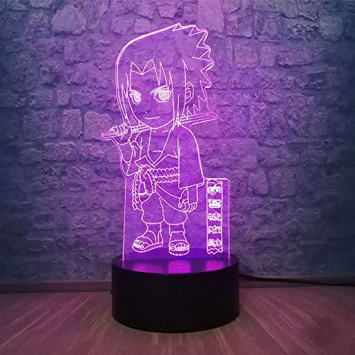 Solo 1 Anime Sasuke Uchiha 3D LED Luz de noche Color cambiante Ilusión visual Lámpara de mesa Decoración de dormitorio Amigo Regalo de cumpleaños