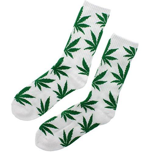 MFAZ Morefaz Ltd Socken Einmalige Anlage Weed Blatt drucken Unisex Baumwolle hohe Crew Athletische Rasta