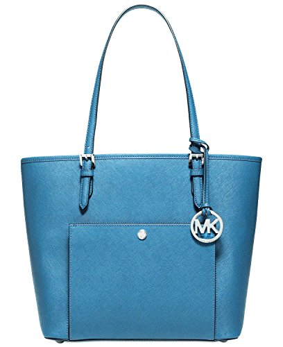 """From MICHAEL Michael Kors, the Jet Set tote features: saffiano leather zip divider pocket, zip pocket, 3 open pockets, cell phone pocket and key fob inside exterior snap pocket approx. 13 x 10 x 5""""; 9"""" drop"""