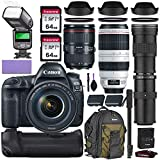 Canon EOS 5D Mark IV DSLR Camera w/Canon 24-105mm f/4L II USM, Canon 100-400mm is II USM & Commander 420-800mm Telephoto Lens + Elegant Accessory Kit (2X 64GB Memory Card, Canon Backpack & More.)