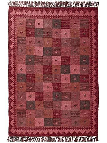 heine home Teppich Wohnzimmer Esszimmer Diele Wolle orientalisch handgewebter Kelim mit Fransen, Größe Teppiche:ca. 190 x 290 cm