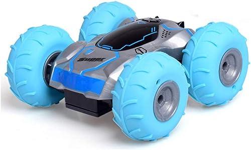 HCTOYvoiture Voiture de Course télécomhommedée avec Tout Le Terrain, 360 ° culbutant, rebondissant Flexible, pneus électriques gonflables comhommedés à 2,4 GHz, véhicule RC Cadeau de Filles,bleu