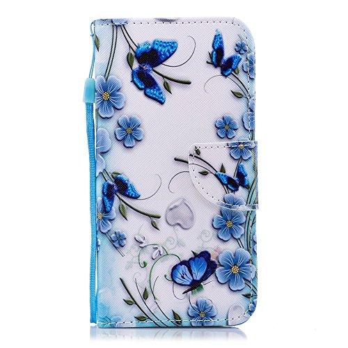 Wiko Lenny 4 Plus Hülle Leder Wallet Kartenfach Handyhülle Wiko Lenny 4 Plus Flip Case Lederhülle Brieftasche Bookstyle Standfunktion Weich PU Schutzhülle Magnetverschluss Bumper Schmetterling Blau