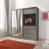 PSK BMF TV200 GREY - Armario moderno con puerta corredera de 200 cm de ancho con espejo para TV